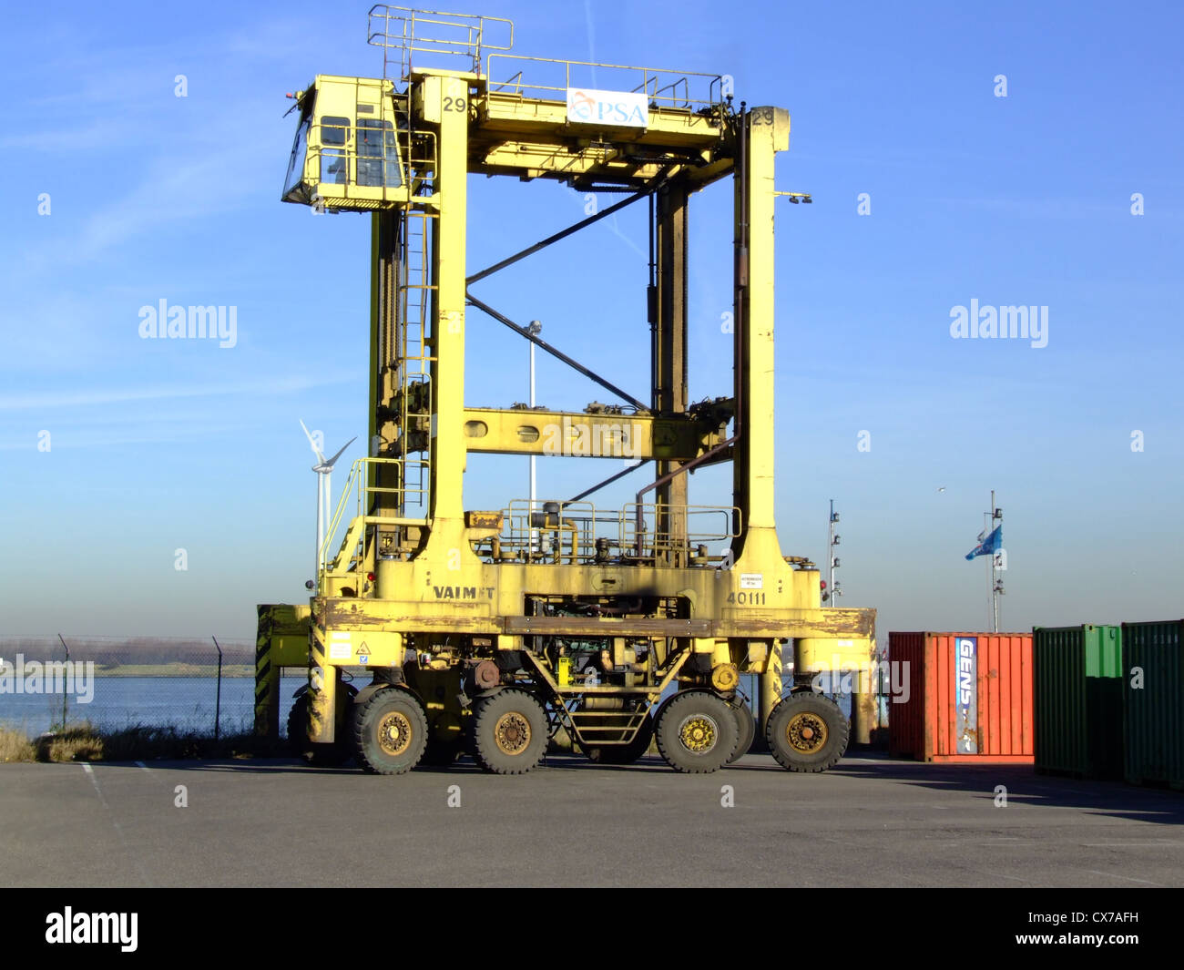 Sisu valmet 44011 straddle carrier container mover stock image