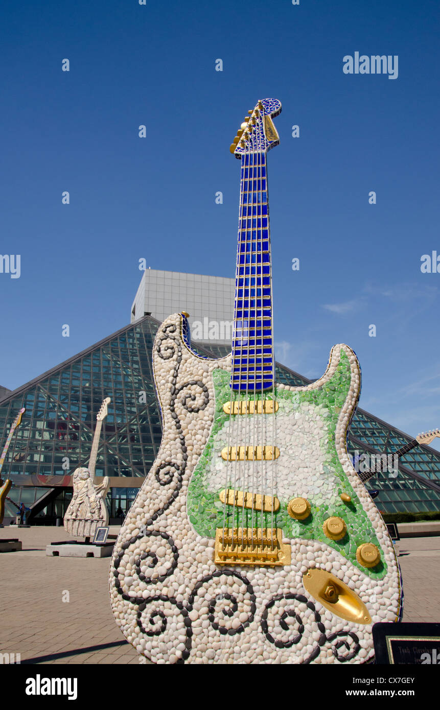 Ohio Cleveland Rock And Roll Hall Of Fame Museum Giant Guitar Sculpture Outside Landmark