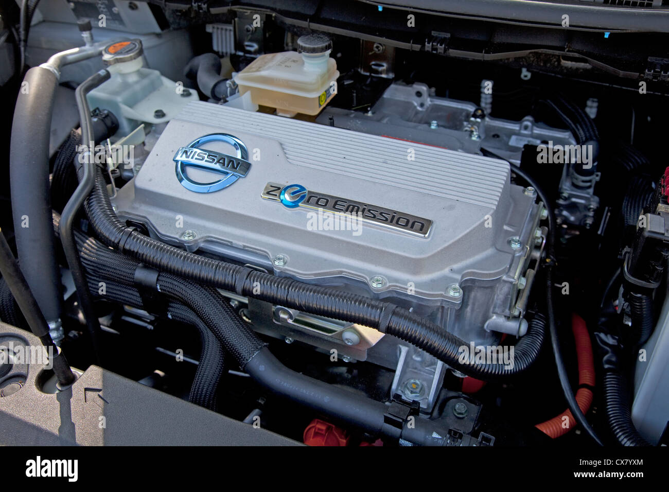 Nissan Leaf Zero Emissions Electric Car Engine Uk Stock Photo