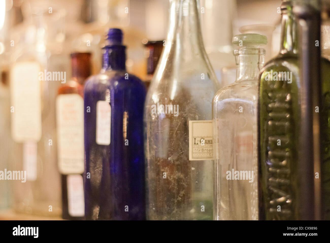 Old Glass Bottles Part - 36: Old Glass Bottles On A Shelf