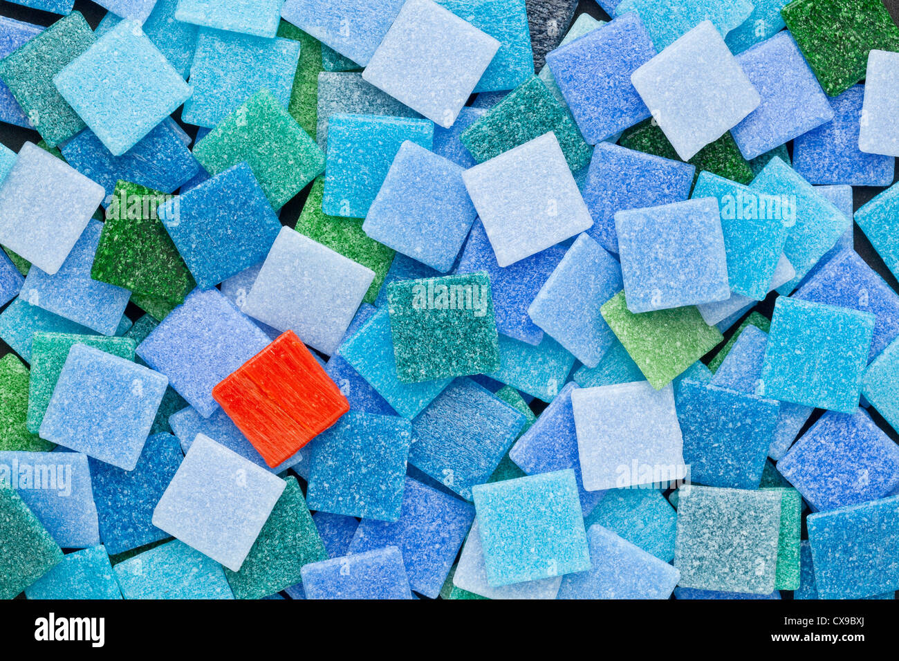 random background of blue and green glass mosaic tiles with a ...