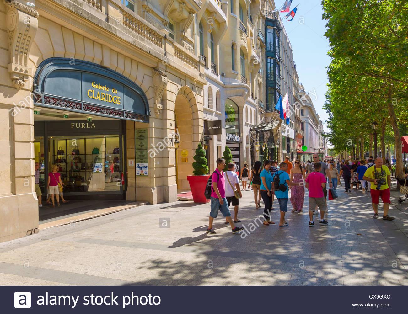 Shops on Avenue Champs-Elysees, Paris, France Stock Photo ...