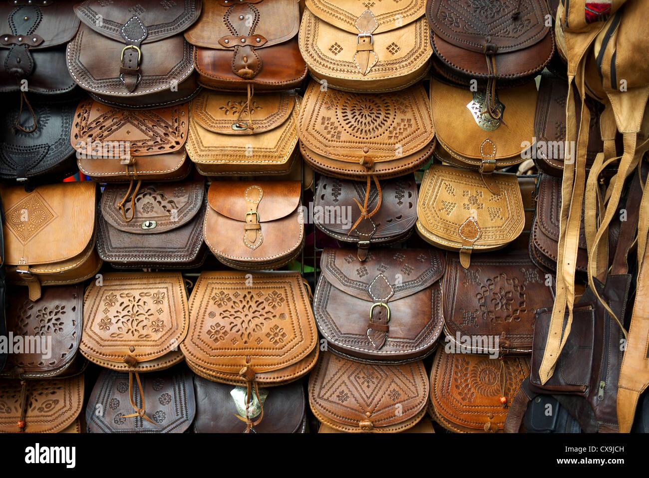 Leather handbags on sale in Santiago de Compostela, Spain Stock ...