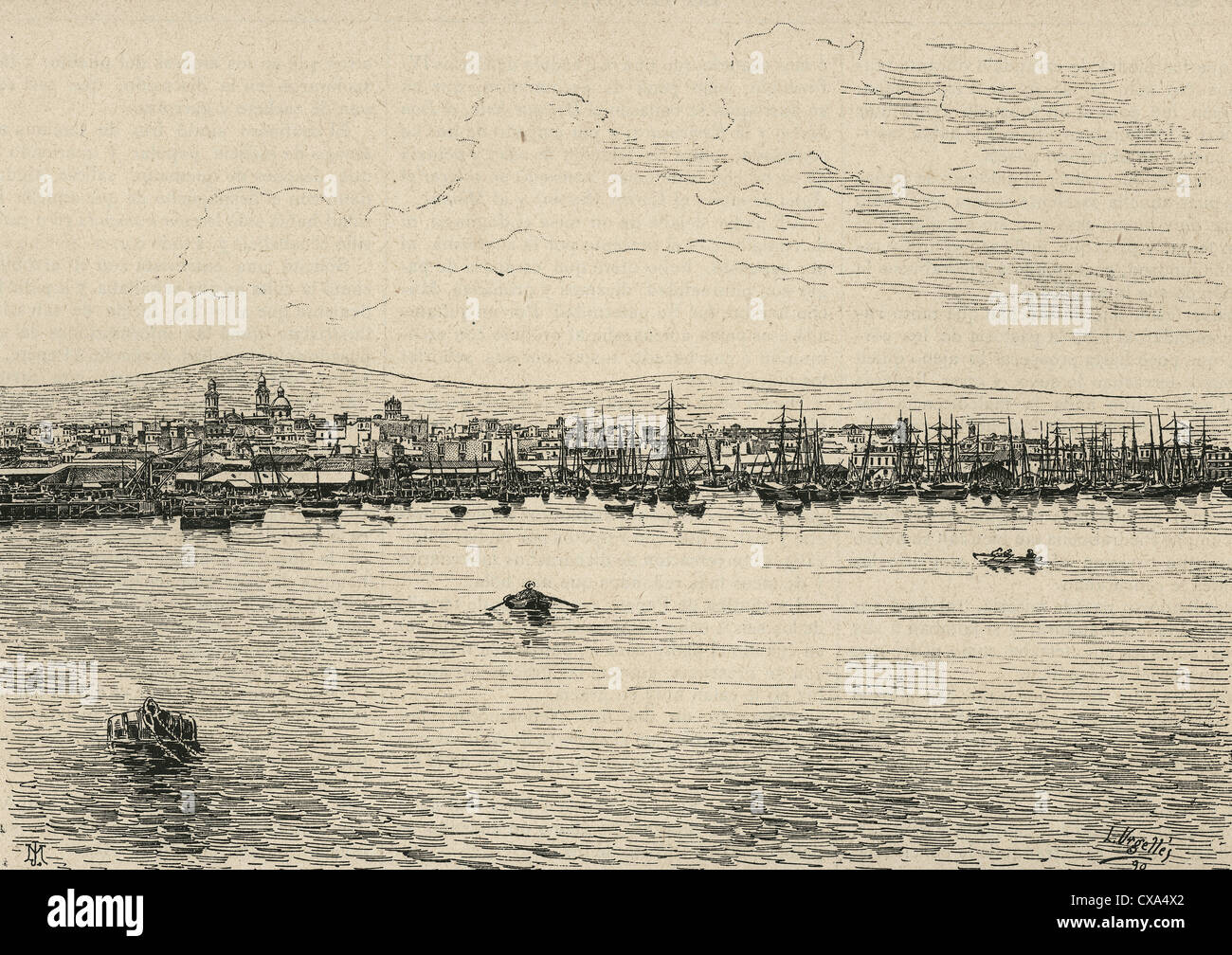 Whalers in action wood engraving published in 1855 stock illustration - Uruguay Montevideo 19th Century City And Harbor Engraved By L Urgelles