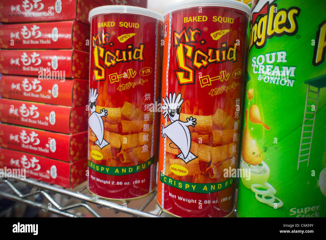 Cans Of Mr Squid Brand Spicy Baked Squid Snack Are Seen In A Grocery Store
