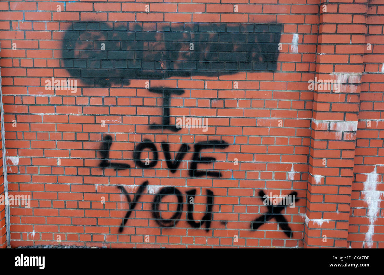Grafiti wall red -  I Love You Graffiti On Red Brick Wall With Name Above Painted Over
