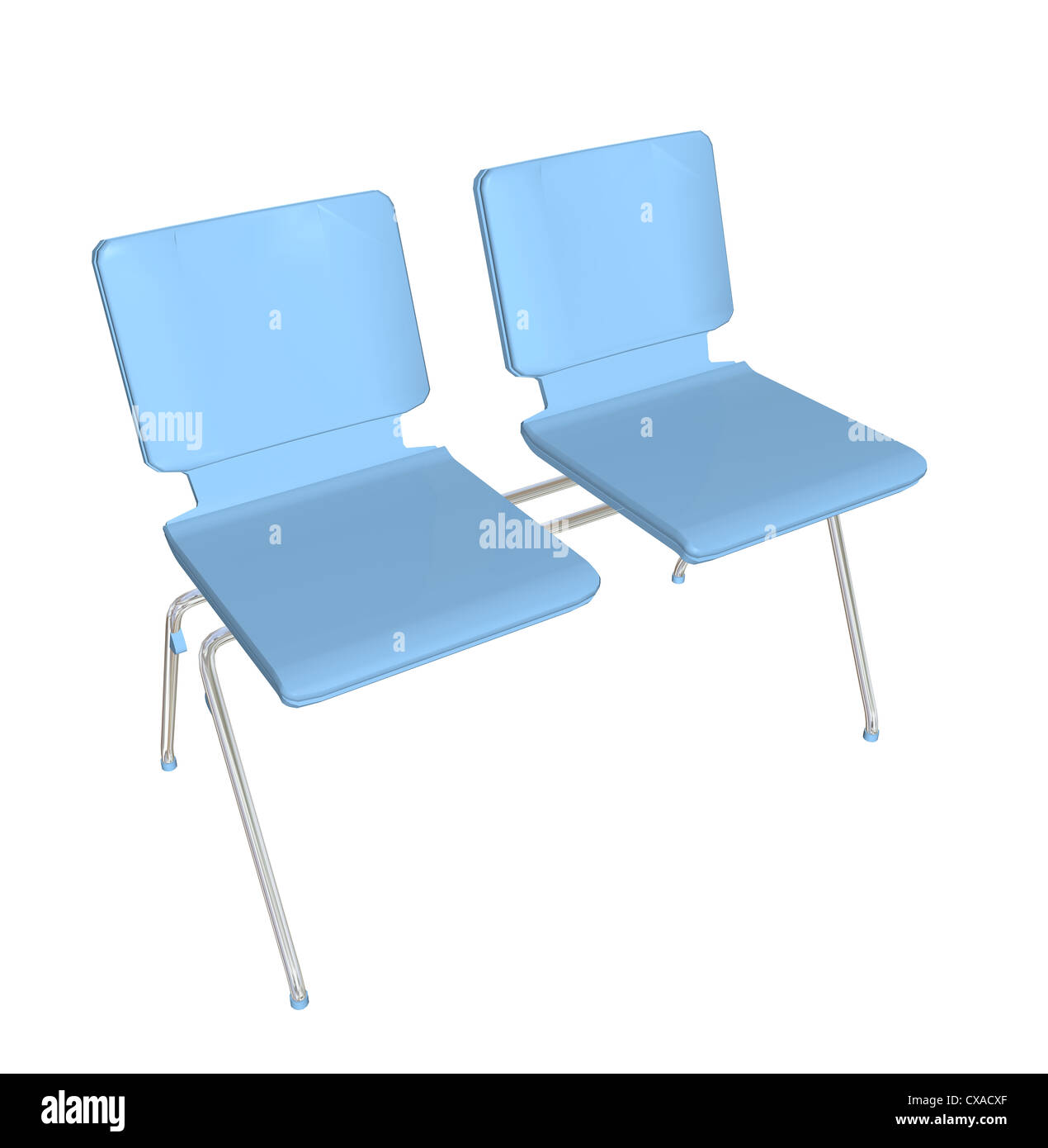 Plastic chair metal legs - Two Seater Stackable Plastic Chair Blue Metal Legs 3d Illustration
