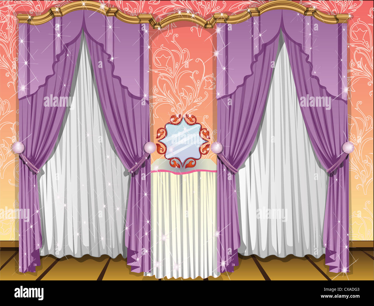 Window curtains, violet and white, mirror in the middle, vector ... for Window With Curtains Illustration  181pct