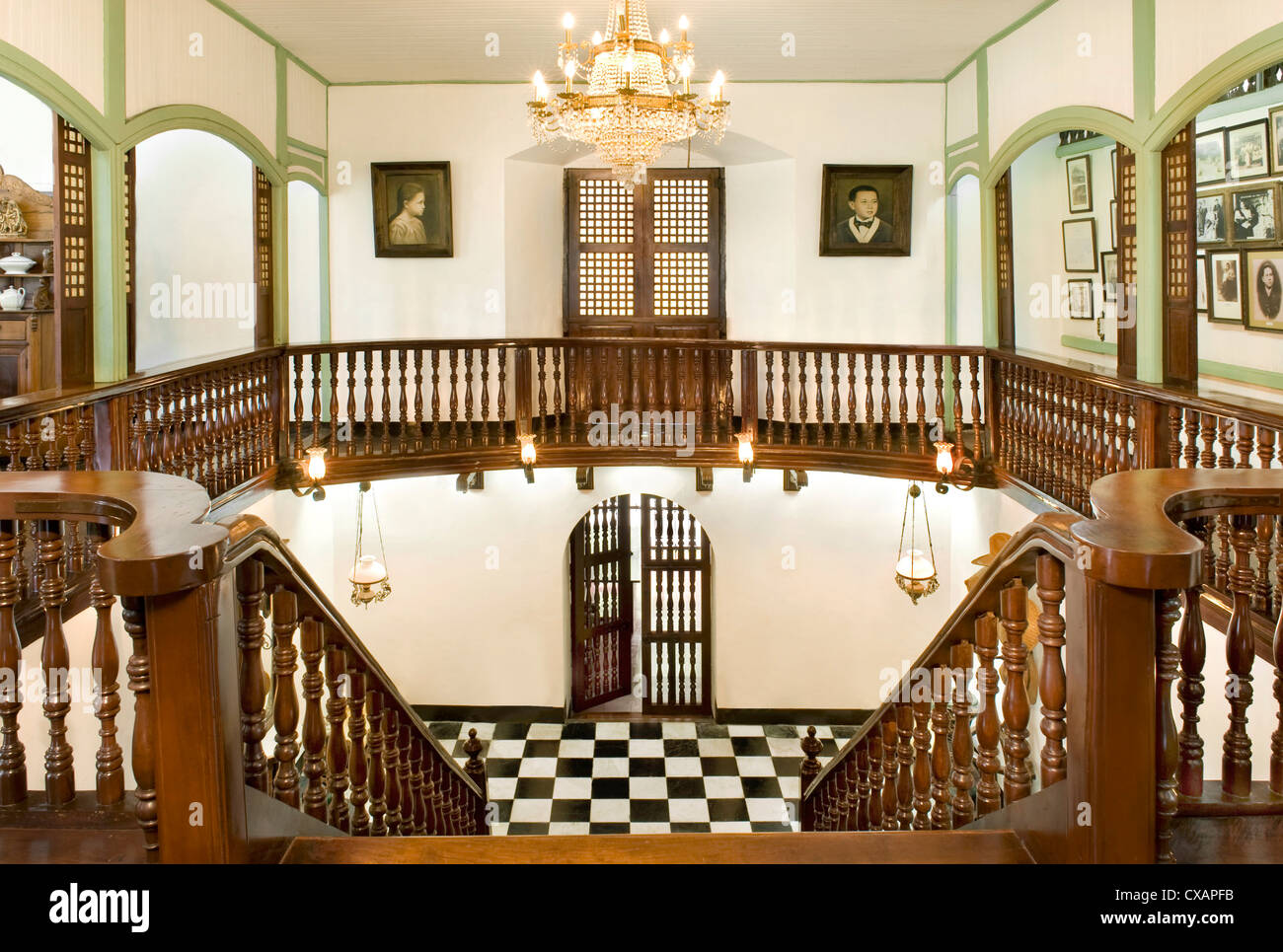 Staircase Of The Pastor Heritage House Dating From 1883, A Classic Filipino  Style Bahay Na Bato In Batangas, Philippines