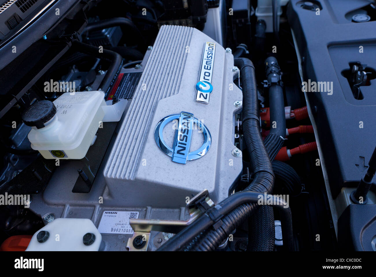 Nissan Zero Emission Electric Car Engine Stock Photo Royalty Free