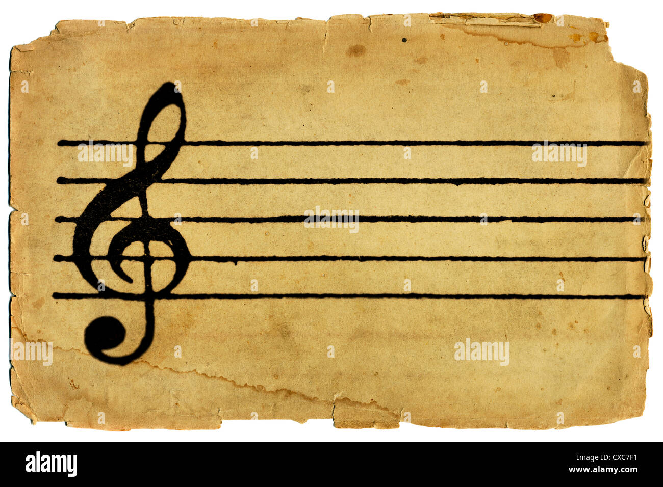 treble clef and musical staff on blank sheet music with