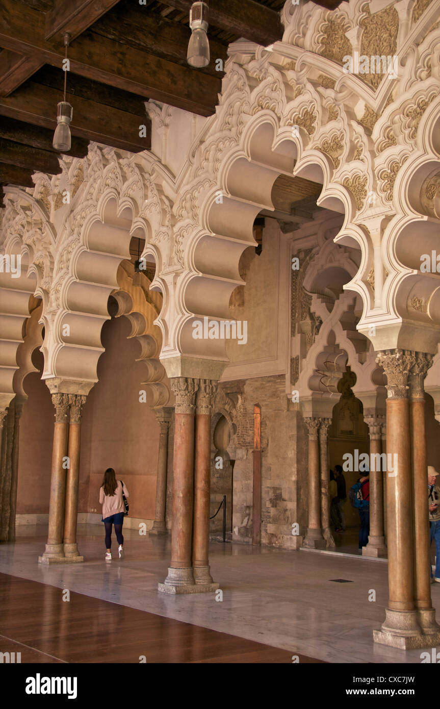 Marble Columns And Polylobe Arches Inside The Aljaferia