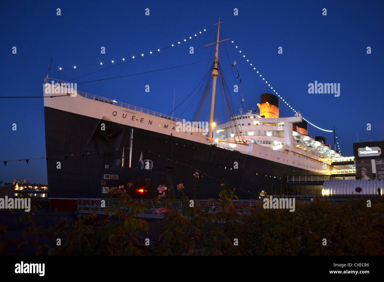 RMS Queen Mary At Night Long Beach California