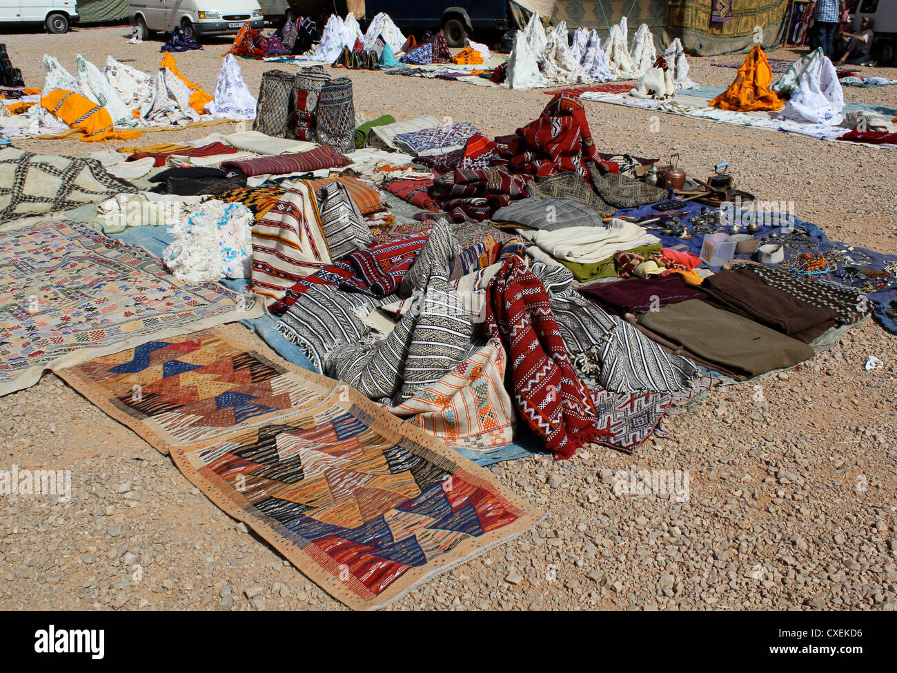 A Display Of Rugs For Sale At Azrou Souk In Morocco   Stock Photo