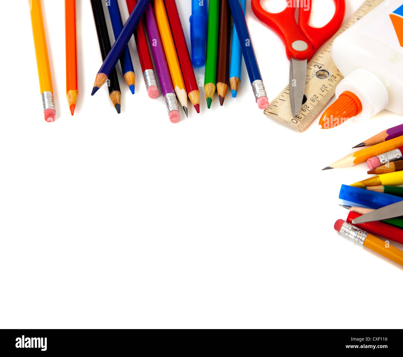 border of school supplies on a white background with copy ...