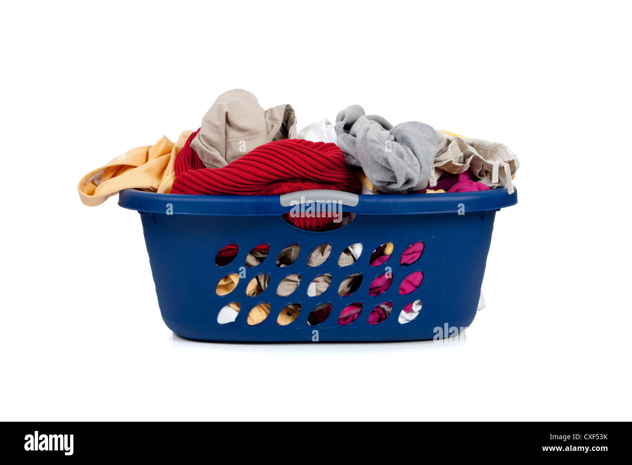 Blue laundry basket full of dirty clothes stock photo royalty free image 50735095 alamy - Hamper for dirty clothes ...