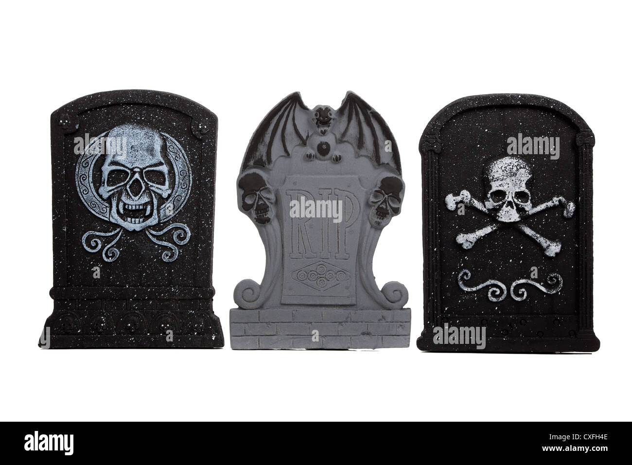 A row of Gothic Halloween tombstones on a white background Stock ...