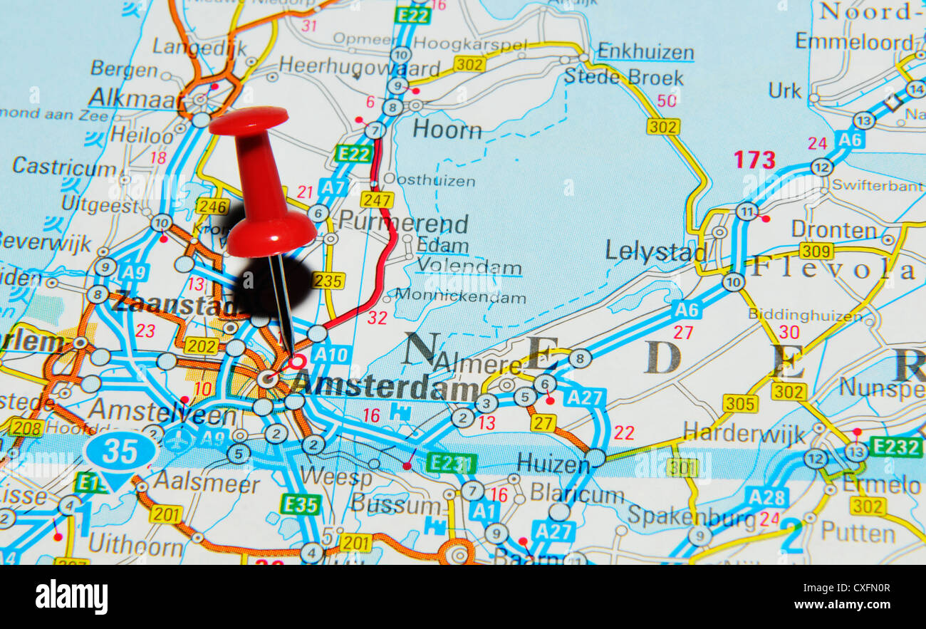 Amsterdam on the Netherlands map Stock Photo Royalty Free Image