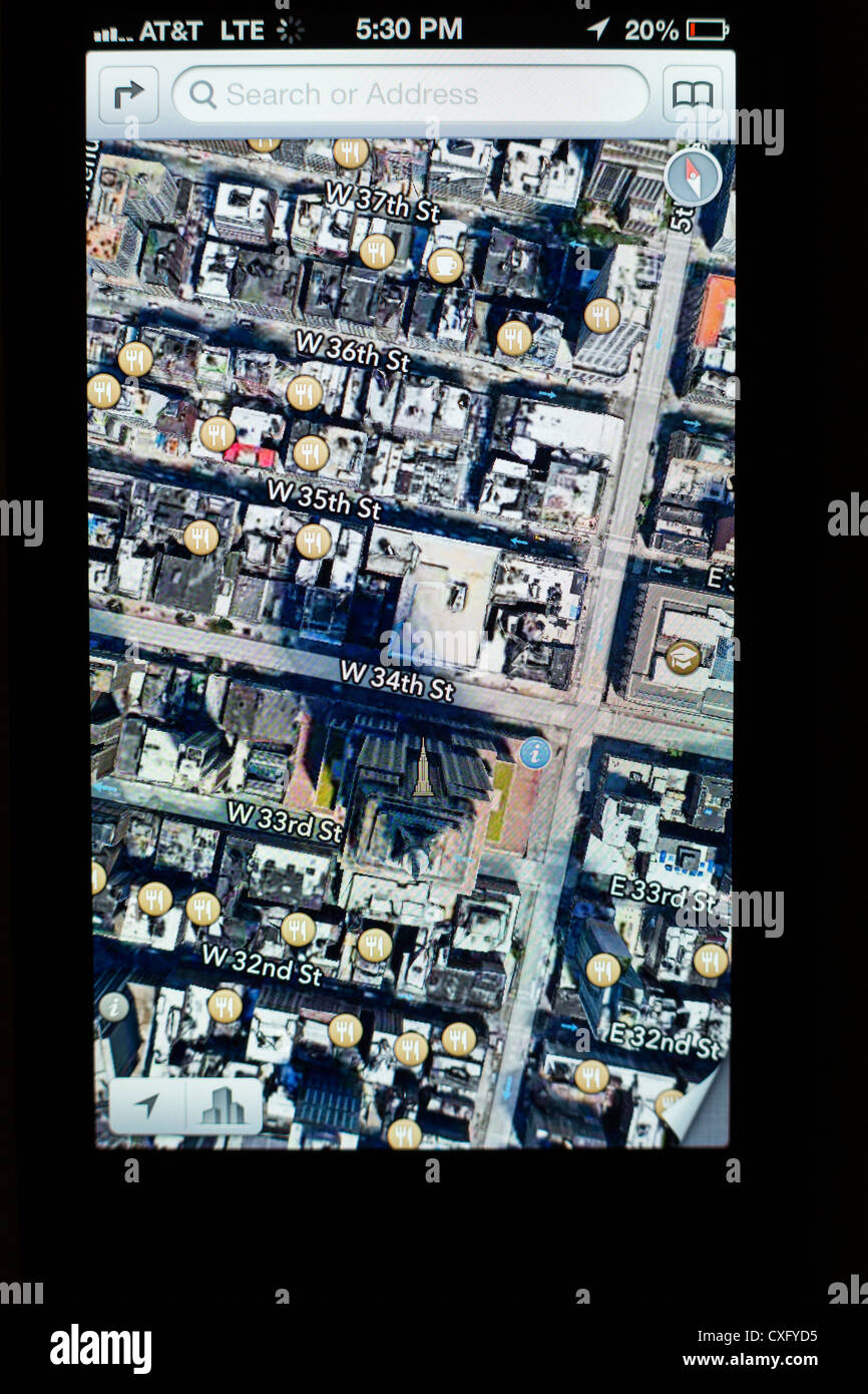 3d World Map App For Iphone. Satellite view of the Empire State Building shown in a new Maps app on  screen iPhone 5 iOS 6 Yelp reviews 3D map