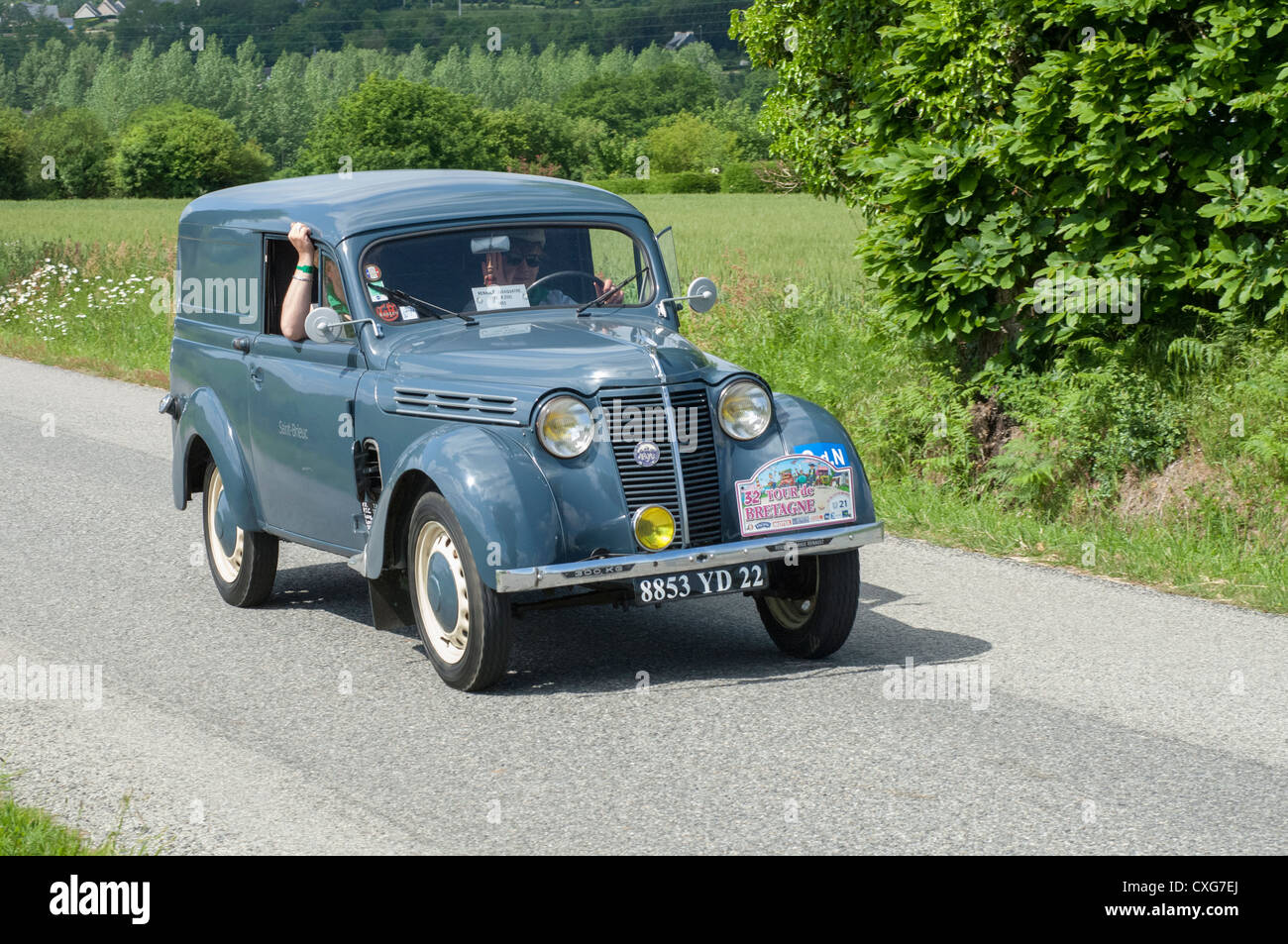 renault juva 4 camionnette of 1952 in the tour de bretagne france stock photo royalty free. Black Bedroom Furniture Sets. Home Design Ideas