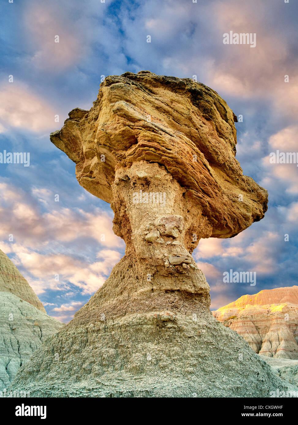 Balancing Rock Badlands National Park South Dakota Stock