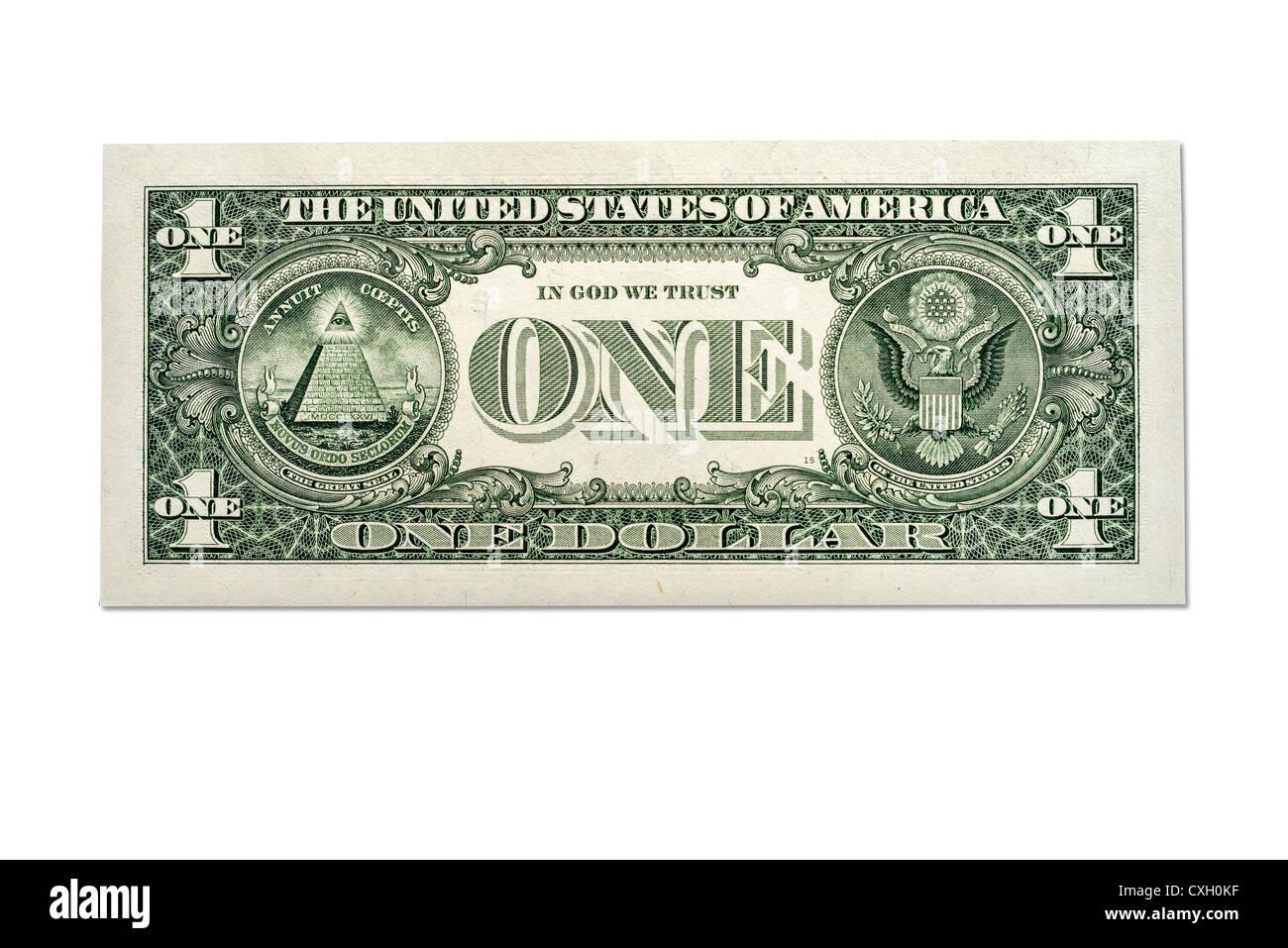 One Hundred Dollar Bill Back Side  Stock Photo