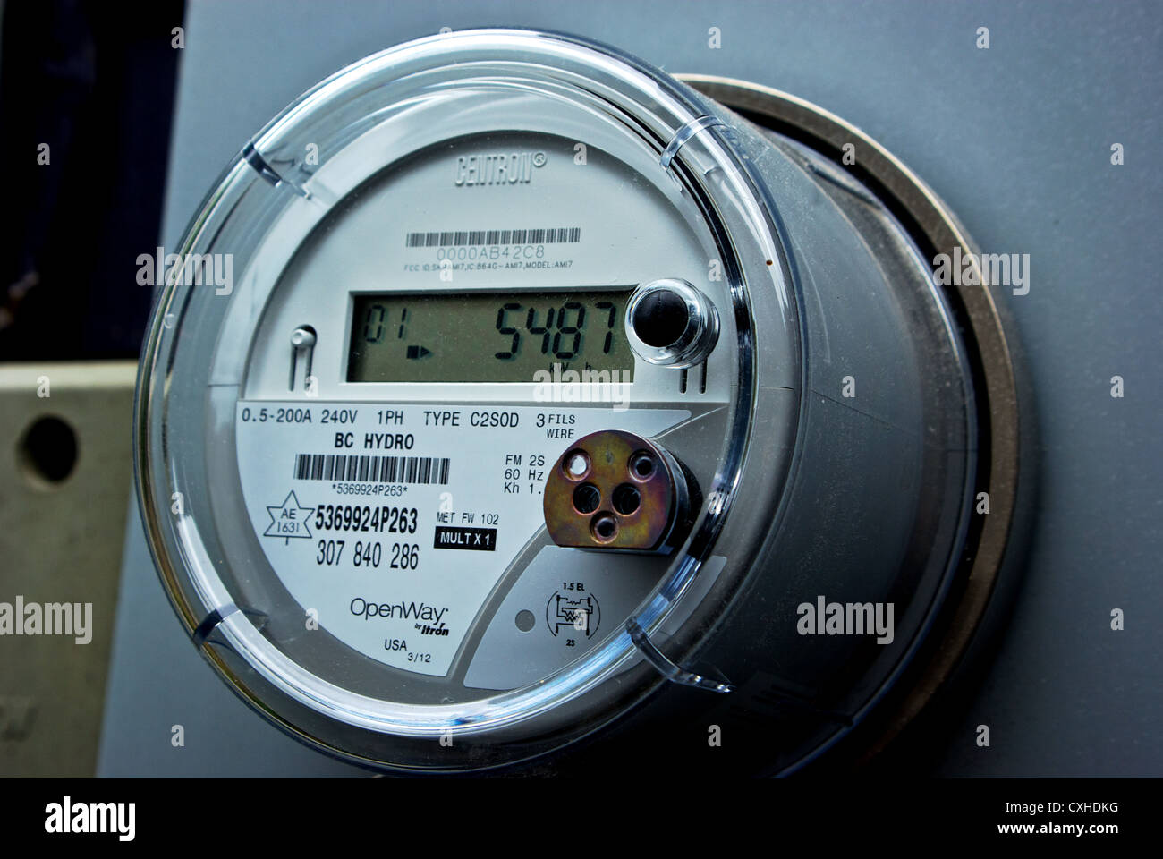 electricity meter digital stock photos electricity meter digital centron c1s digital solid state wireless transmission household electricity use smart meter bc hydro stock