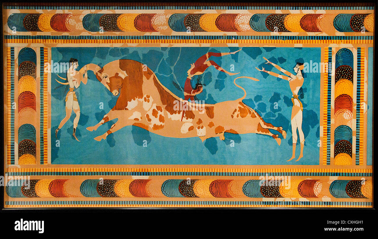 palace at knossos grete and bull leaping Castleden argues that knossos on crete never was a palace of the legendary king minos, but rather a temple was decorated with a bull-leaping fresco.