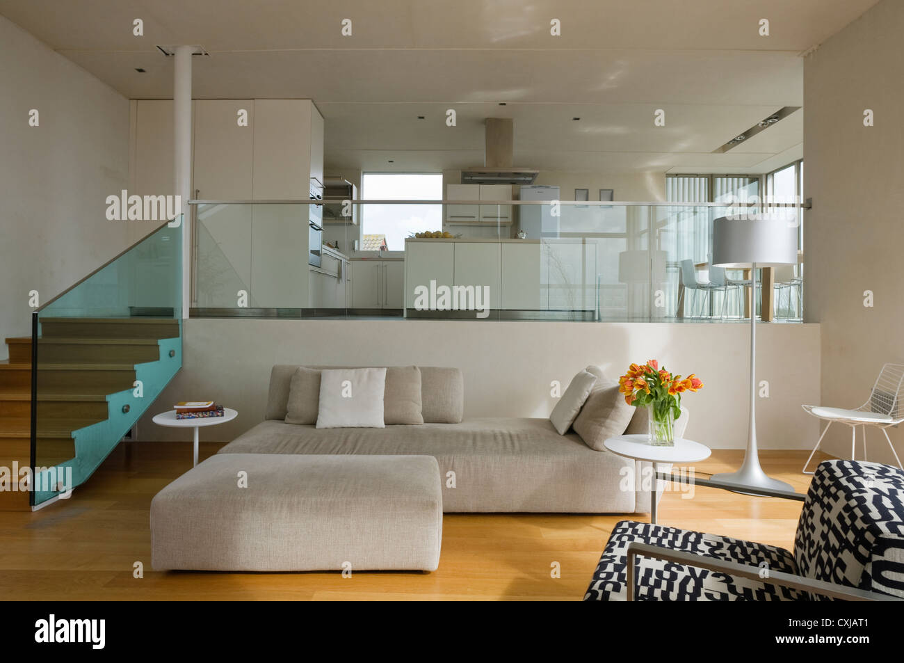 Split level open plan living room and kitchen stock photo for Split level open floor plan remodel
