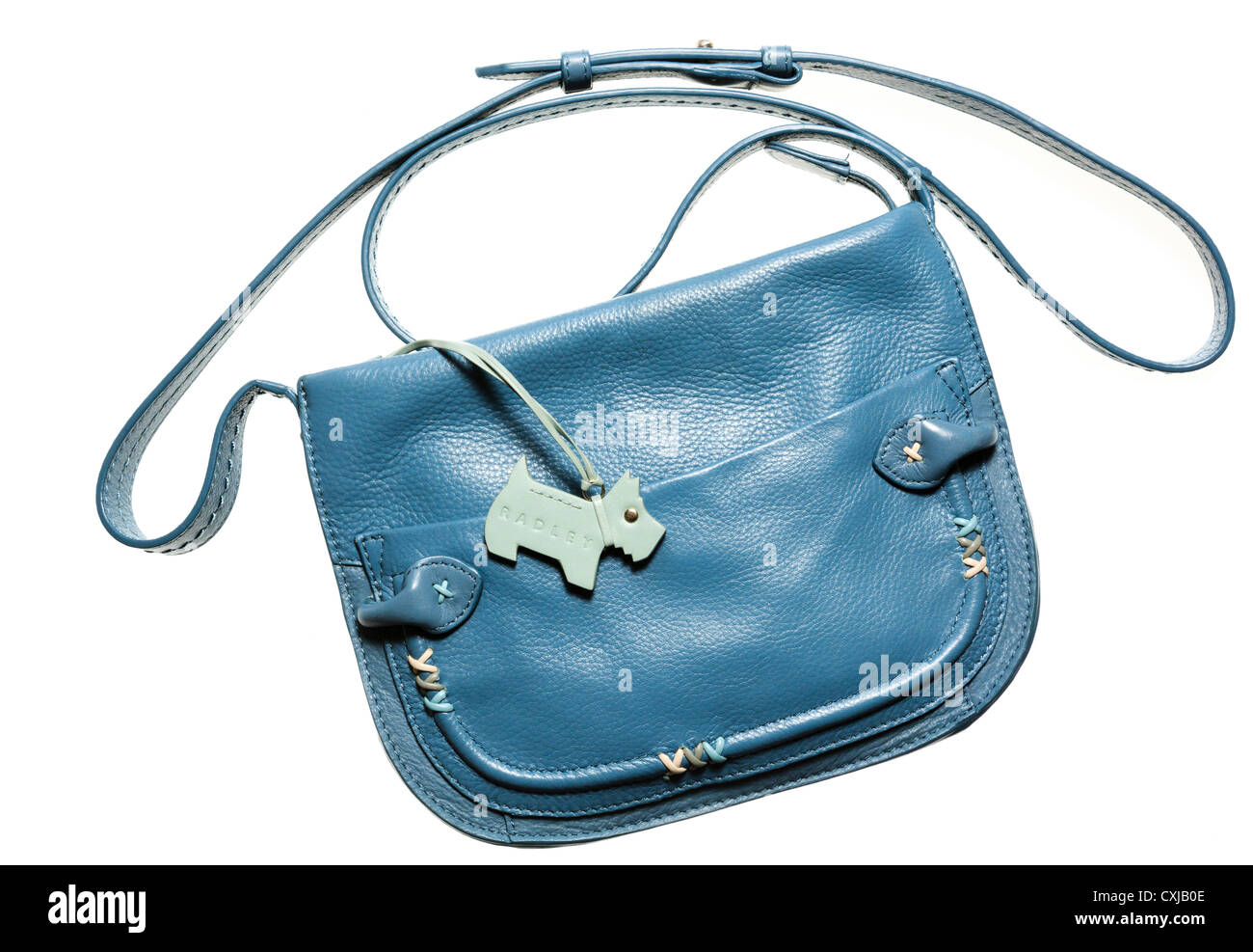 Radley Designer Handbag In Blue Leather With Scottie Dog