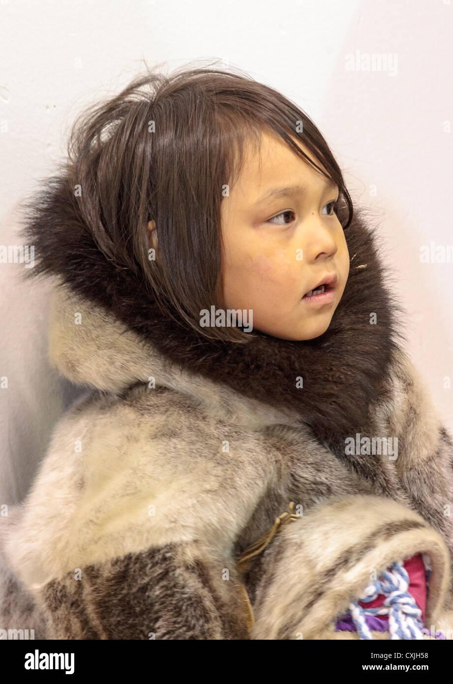 Tween Inupiat Eskimo Girl In A Traditional Native Kuspuk Dress ...