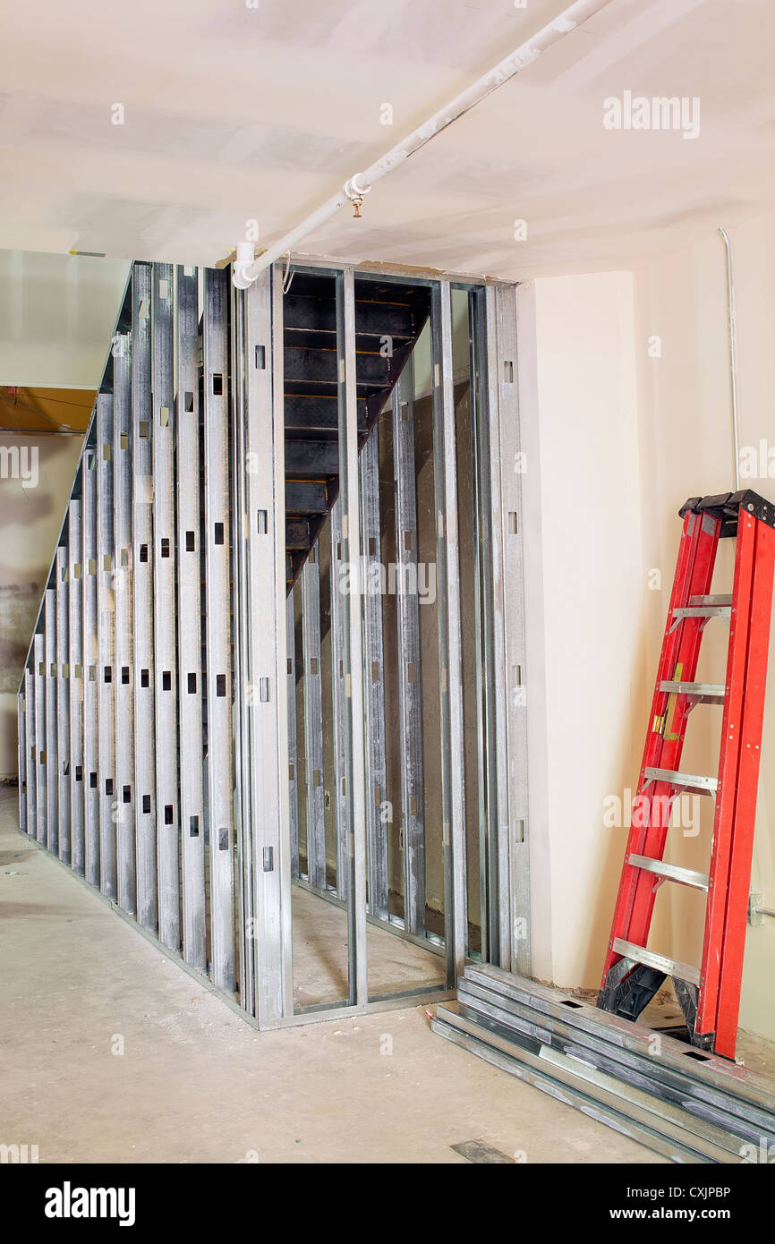 metal studs framing for staircase in commercial retail space - Metal Studs Framing