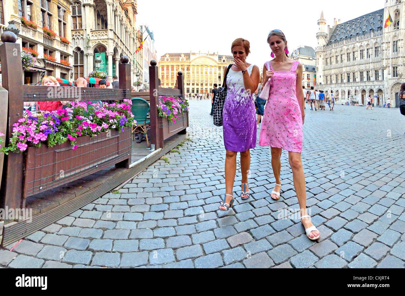 Brussels-Belgium-Two-women-walking-throu