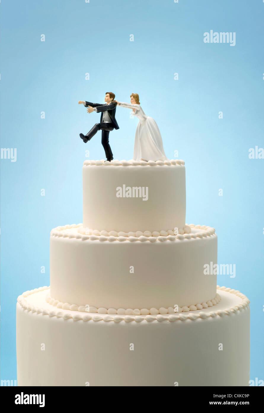 Groom Running Away From Bride Cake Topper