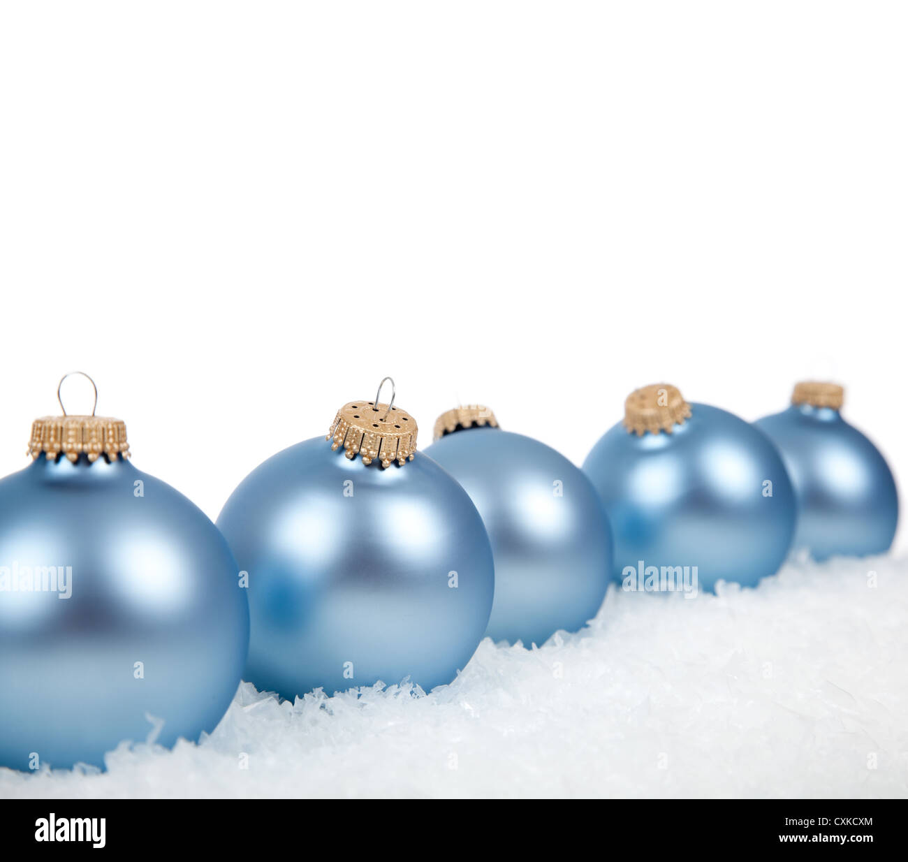 Baby blue christmas ornaments baubles on a white for White christmas baubles