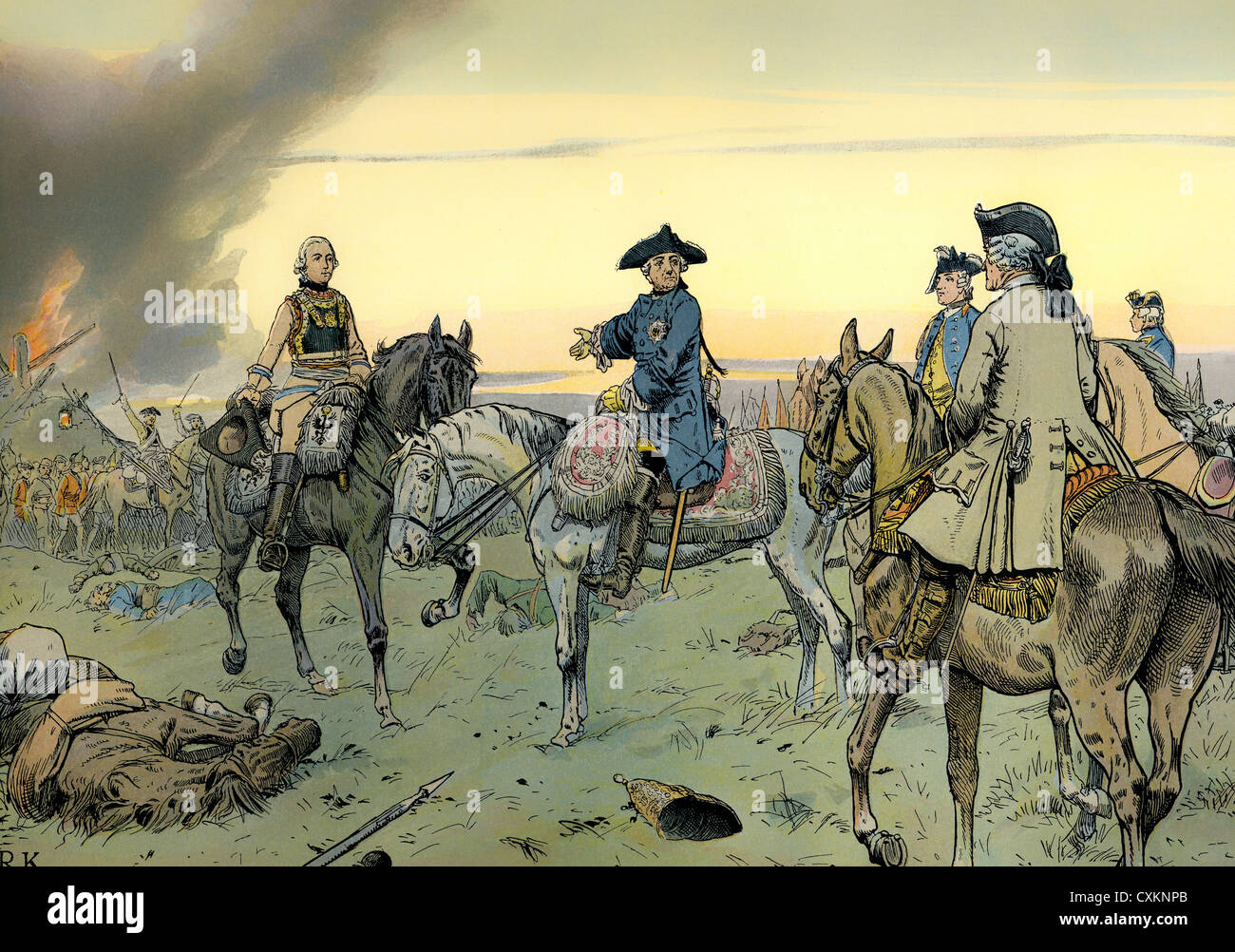 Historienmalerei  Frederick II or Frederick the Great King Prussia, After the Battle ...