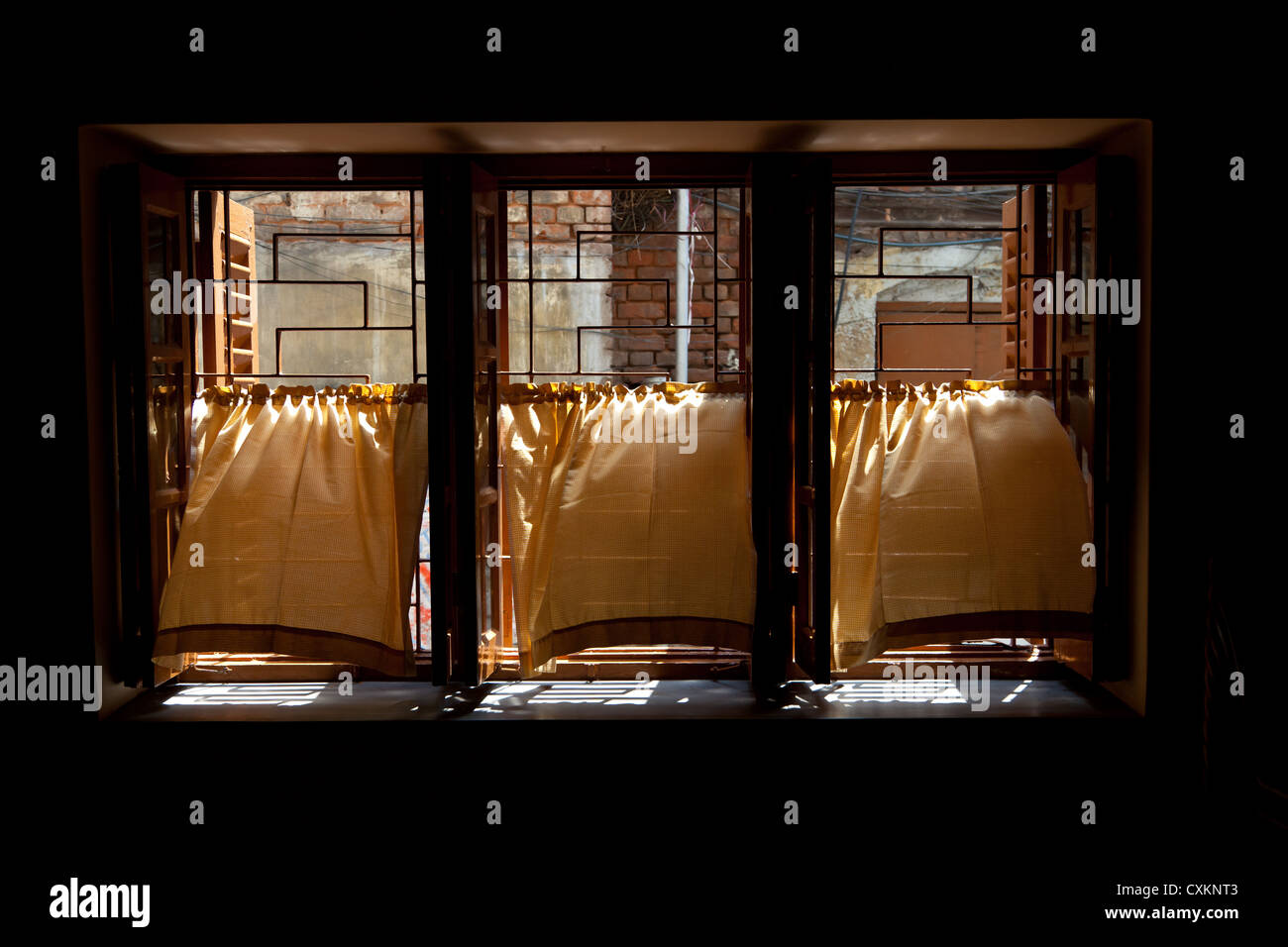 Stock photo windows of the mother house of mother teresa in kolkata in india