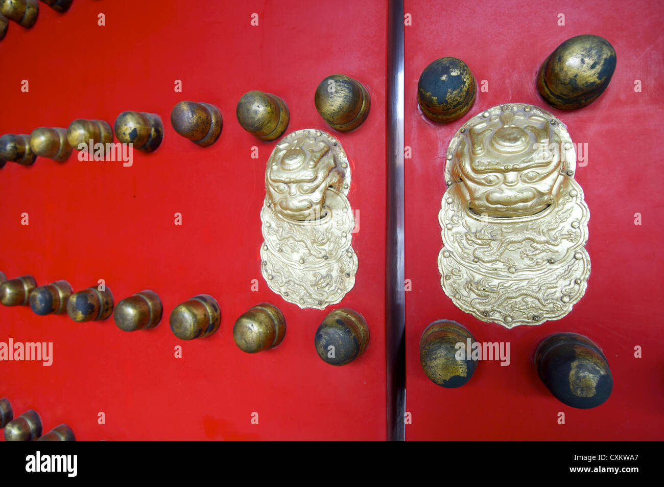 Chinese red gate doors with dragon door knob Forbidden City  Beijing China & Chinese red gate doors with dragon door knob Forbidden City Stock ...
