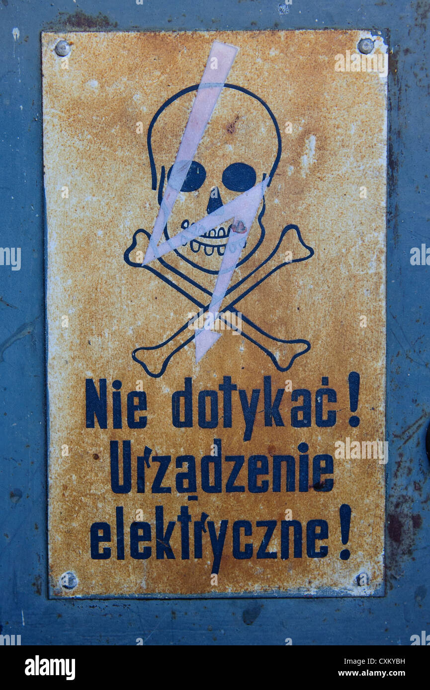 High voltage sign stock photos high voltage sign stock images alamy skull and crossbones high voltage sign jelenia gora poland stock image buycottarizona Images
