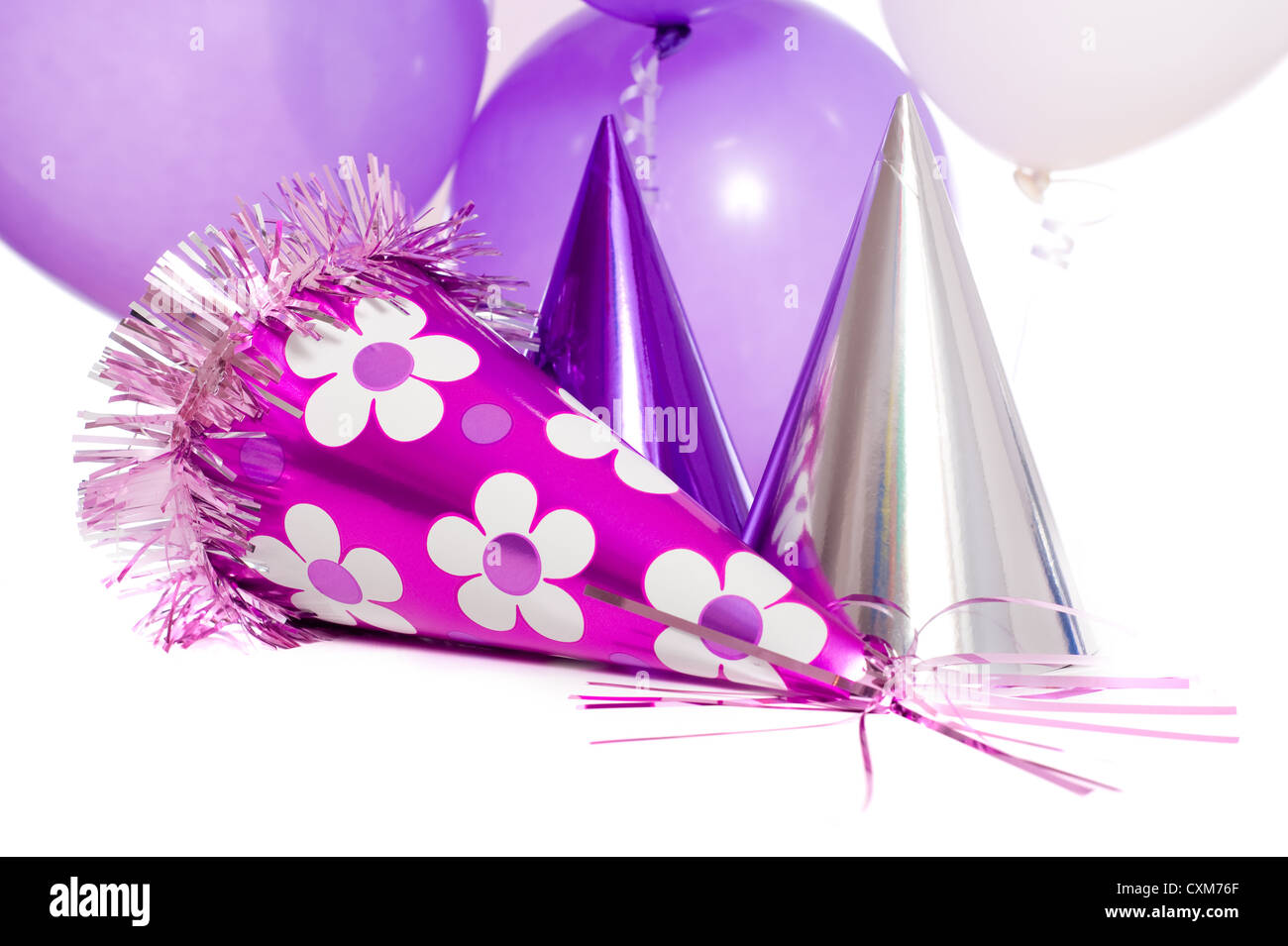 Birthday Party Background With Hats And Floating Balloons On A White