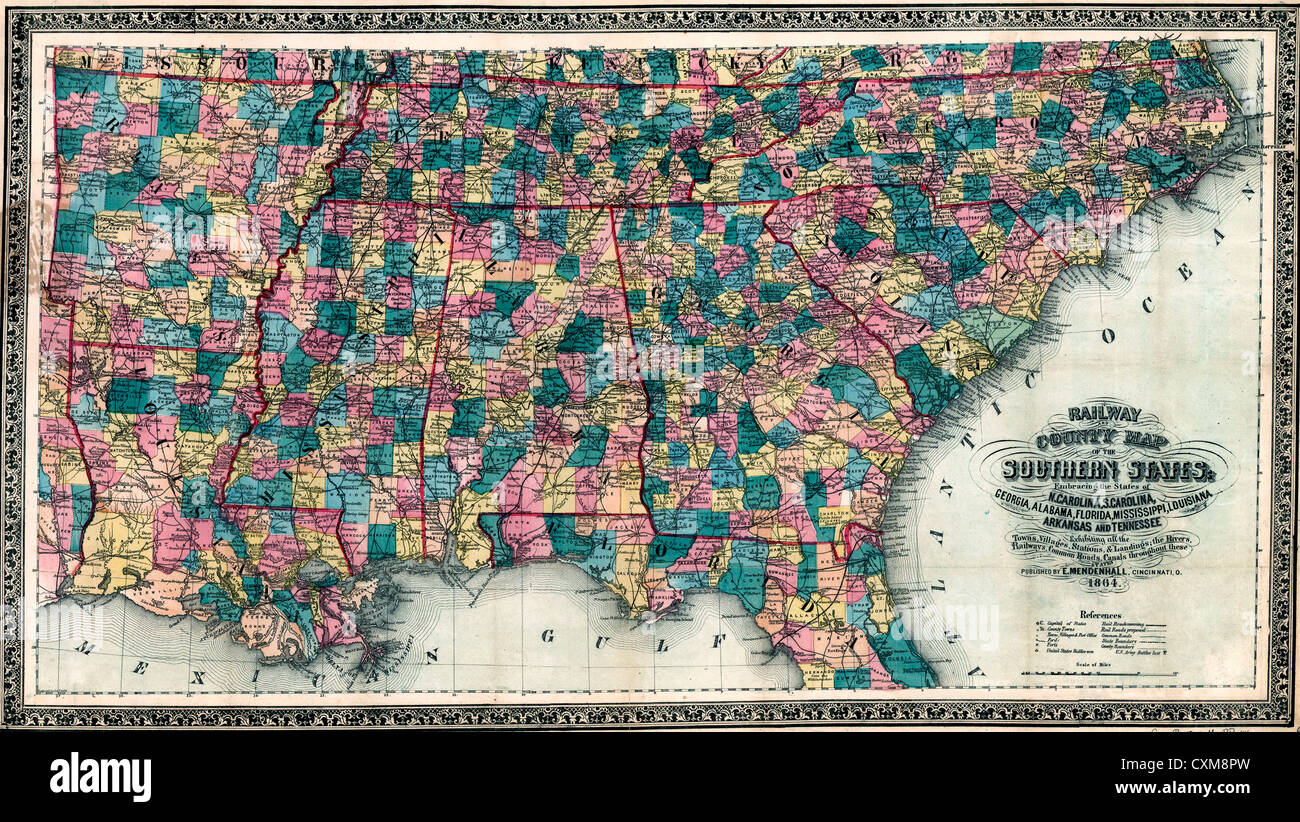 Railway And County Map Of The Southern States Of The United States - United states counties map