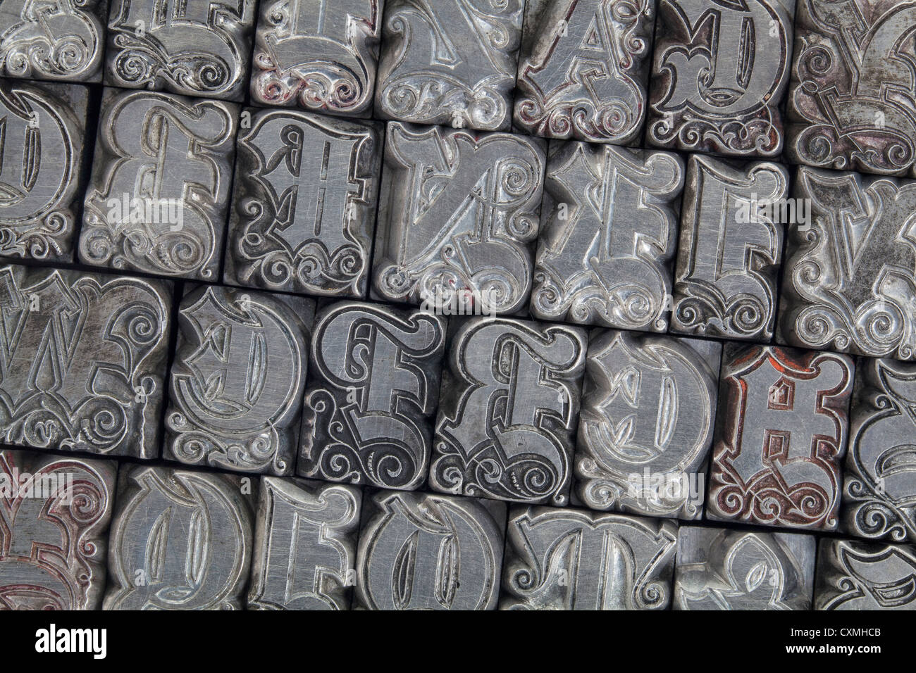 Metal Initials Pleasing Random Alphabet Letters In Ornamental Metal Letterpress Type Stock Decorating Inspiration