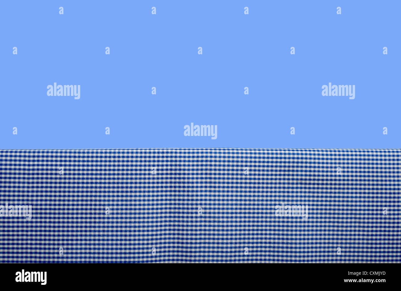 Blue tablecloth background - Blue Gingham Or Checked Tablecloth Background In Front Of A Blue Sky Picnic Table Cloth With Copy Space