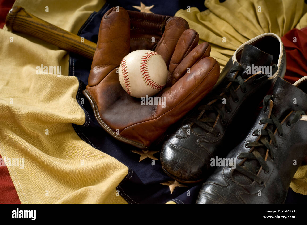 vintage baseball glove bat and ball stock photo royalty free