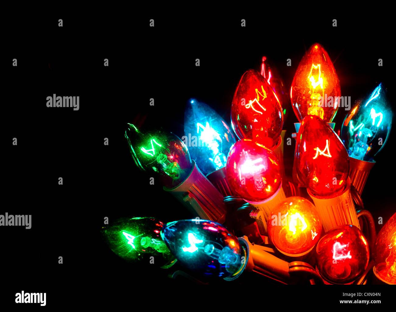 multicolor christmas lights on black background - Multicolor Christmas Lights