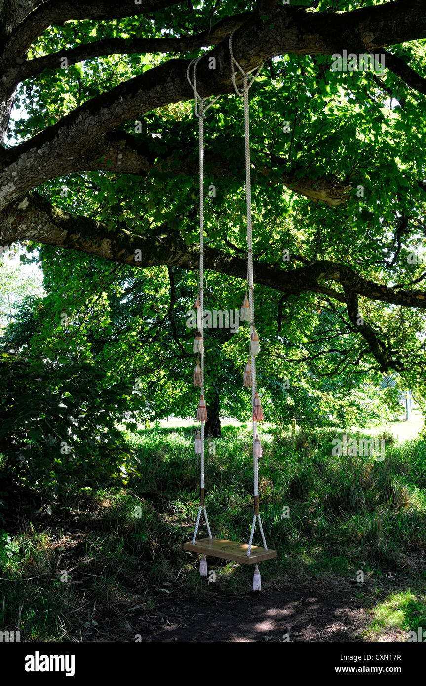 Wood Wooden Swing Hang Hanging Beech Tree Shade Shaded Garden Design Style  Plaything Toy Seat