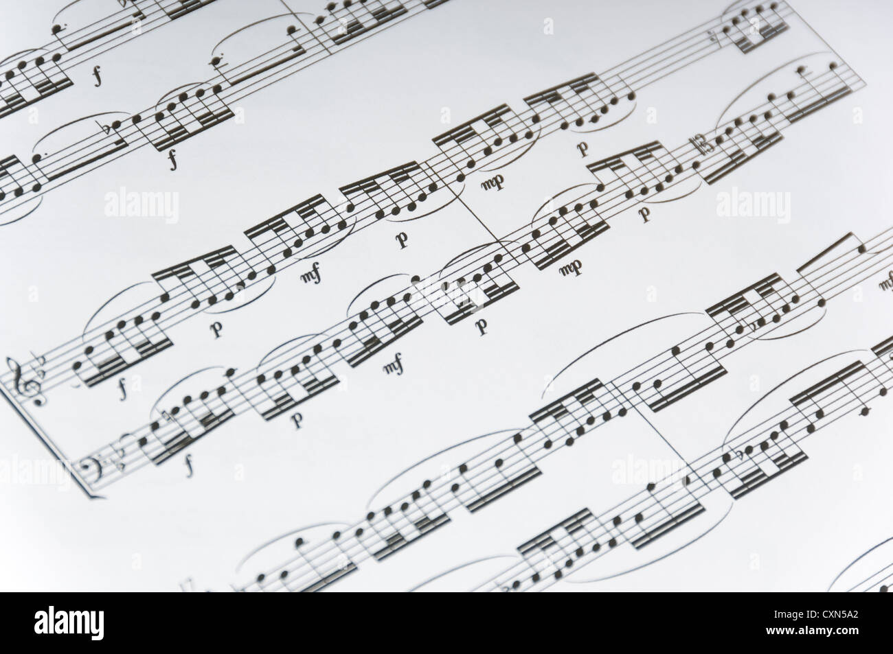 Sheet music background, violin or piano music, with notes ...