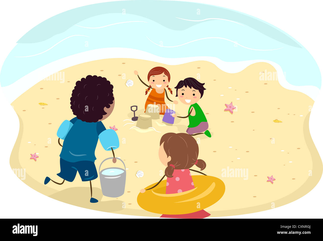 Illustration Of Kids Making A Sand Castle On The Beach