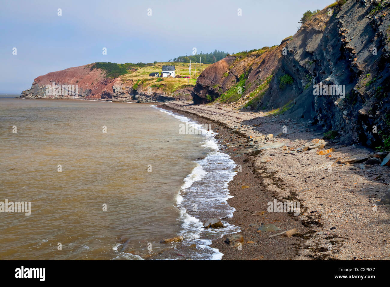 world famous fossil cliffs on the bay of fundy  at joggins