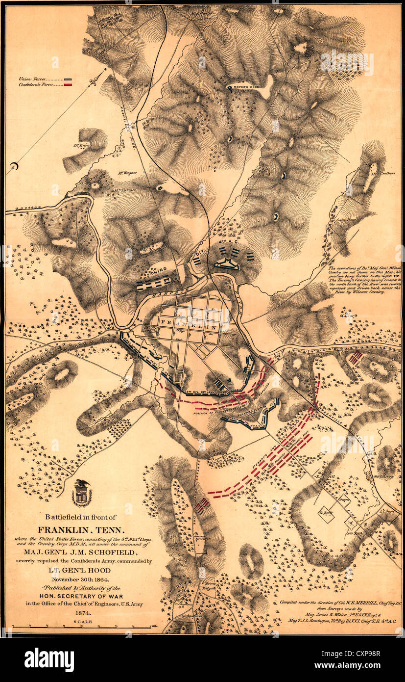 map of battlefield battle of franklin during the usa civil war fought on november 30 1864